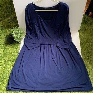 Tart Collection PLUS Dress Navy Scoop Neck Pleated